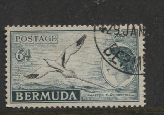 Bermuda - Scott 152 - QEII-Definative-1953 - VFU - Single 6d Stamp