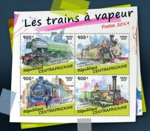 Central Africa - 2019 Steam Trains on Stamps - 4 Stamp Sheet - CA190301a