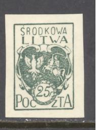 Central Lithuania Sc # 2 mint never hinged imperf (RS)