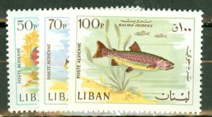 Q: Lebanon 453-8, C534-9 MNH CV $60.55; scan shows only a few