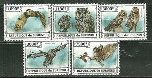 Burundi MNH Set Of 5 Owls 2013