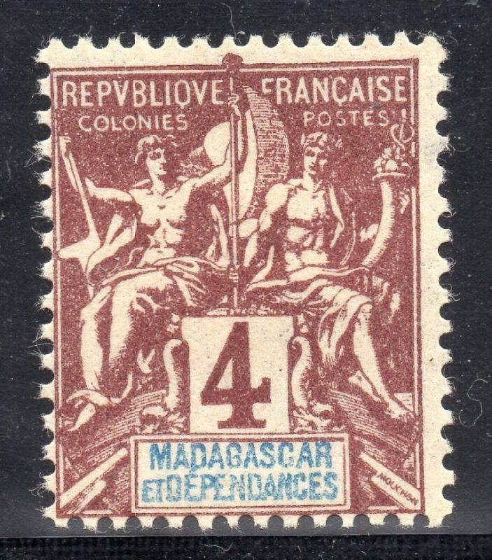 Madagascar France  French colony stamp navigation commerce variety fond ci-joint