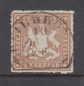 Wurttemberg Sc 45 used 1865 9kr Coat of Arms, rouletted, Scarce & VF