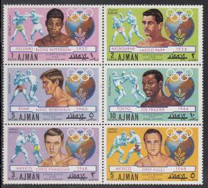 Ajman Mi#1054a-1059a MNH Block of Six - Gold Medal Boxers