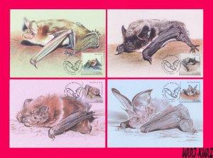 MOLDOVA 2017 Nature Fauna Flying Mammals Animals Bats 4 Maxicards Maximum Cards
