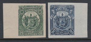 El Salvador 1895 20c Deep Green & 30c Deep Blue Plate Proofs. Sctt 124 & 126 var