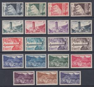 French Andorra Sc 124-142 MLH. 1955-58 Pictorials, cplt set of 19, VF