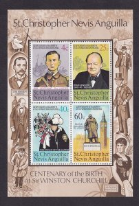 St. Christopher Nevis Anguilla   #290a-293a  MNH  1974  sheet  Churchill