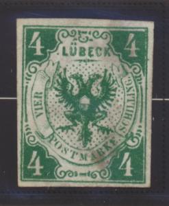 Lubeck (German State) Stamp Scott #5, Mint, No Gum, Thins - Free U.S. Shippin...