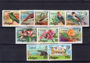 Barbuda 1977 Set Incomplete of Birds/Orchids/Cannon (10) SGV £ 6.90