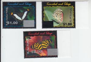 2017 Trinidad & Tobago Butterfly Overprints (3) (Scott NA) MNH