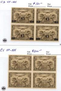 Canada USC #C1 & C3 Mint Airmail Blocks - 1928 & 1932 Surcharged