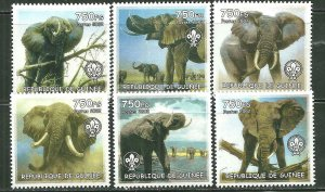 Guinea MNH Set Of 6 Elephants 2002