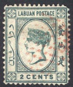Labuan 1879 2c Blue Green WATERMARK CA over CROWN SG 1 Sc 1 FU Cat £850($1,088)