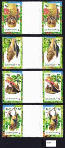 Fiji WWF Fijian Monkey-faced Bat 4 Gutter Pairs folded SG#986-989 MI#812-815