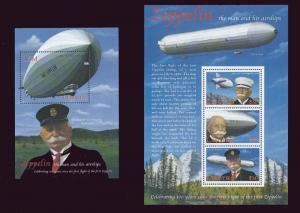 Lesotho 2000 Zeppelin Anniversary 3 Stamp Sheet + S/S   12E-024