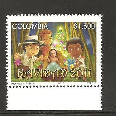 rO) 2011 COLOMBIA, CHRISTMAS 2011, FOR 1, MNH.