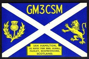 QSL QSO RADIO CARD Paisley/Renfrewshire/Scotland/GM3CSM/Ian, (Q1906)