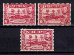 St Lucia 1938-48 George VI Definitive 6d Variations