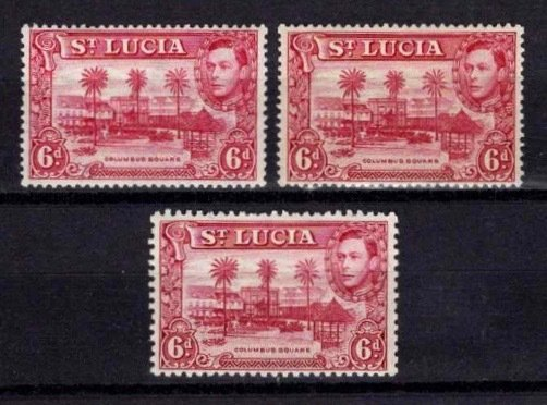 St Lucia 1938-48 George VI Definitive 6d Variations