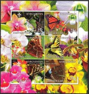 Kyrgyzstan 2005 Scouting Butterflies Orchids Sheet of 6 Imperf. MNH Cinderella !