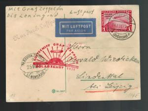 1931 Germany Graf Zeppelin Postcard Cover Polar Flight # C40 LZ 127 Leningrad
