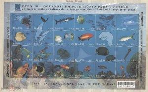 Brazil 1998 marine life fish etc sheet MNH