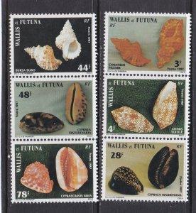 Wallis & Futuna # 354-359, Sea Shells, NH, 1/2 Cat.