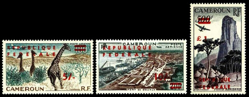 1961 Cameroon #C38-40 Airmail Surcharged in Red - OGNH - VF - CV$67.00 (E#3004)