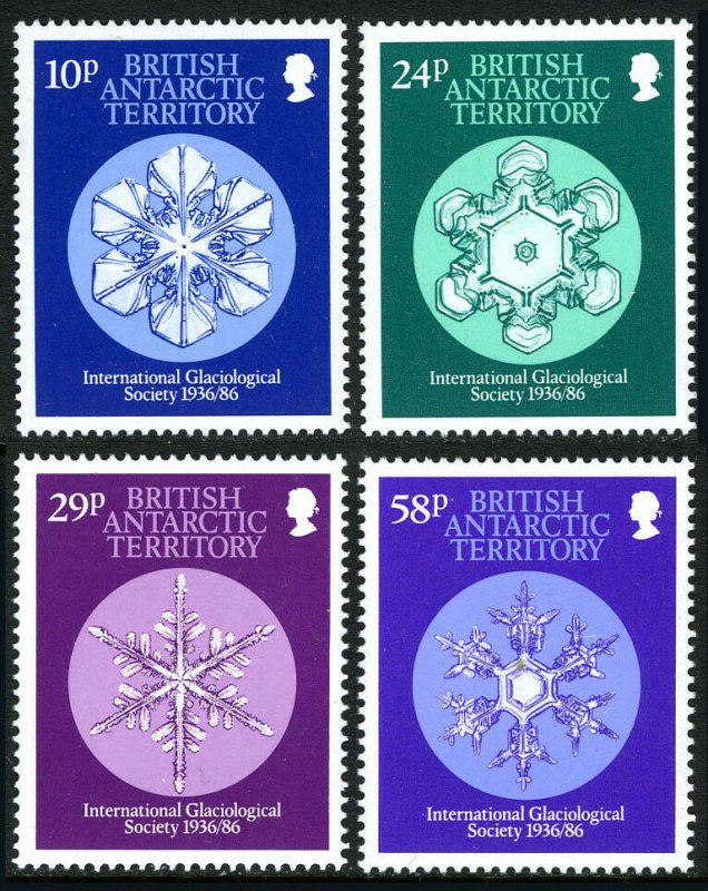 British Antarctic Territory 133-136,MNH.Intl.Glaciological Society,50th ann.1986