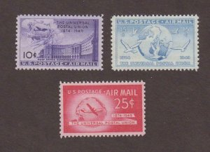 US,C42,C43,C44,MNH,VF,1940'S AIRMAIL COLLECTION MINT NH,OG