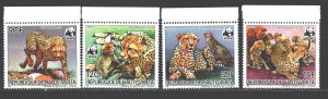 Upper Volta MNH 957-60 Leopards & Cubs WWF 1984