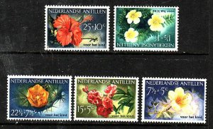 Netherlands Antilles-Sc#B21-5-unused hinged set-Flowers-Flora-1955-
