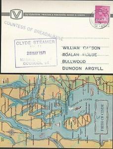 GB SCOTLAND 1971 postcard COUNTESS OF BREADALBANE Clyde steamer cachet.....57388