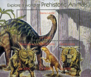 Sierra Leone MNH S/S Pre-Historic Animals Dinosaurs 4 Stamps