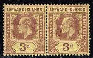 UK STAMP Leeward Islands 1907 -1911 King Eduard VII MNH/OG PAIR