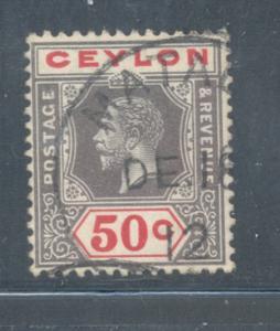 Ceylon Sc 209 1912 50c G V stamp used