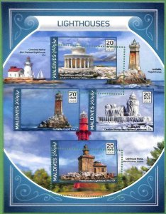 A2122 - MALDIVES, ERROR: MISPERF, MINIATURE SHEET - 2018, Lighthouses