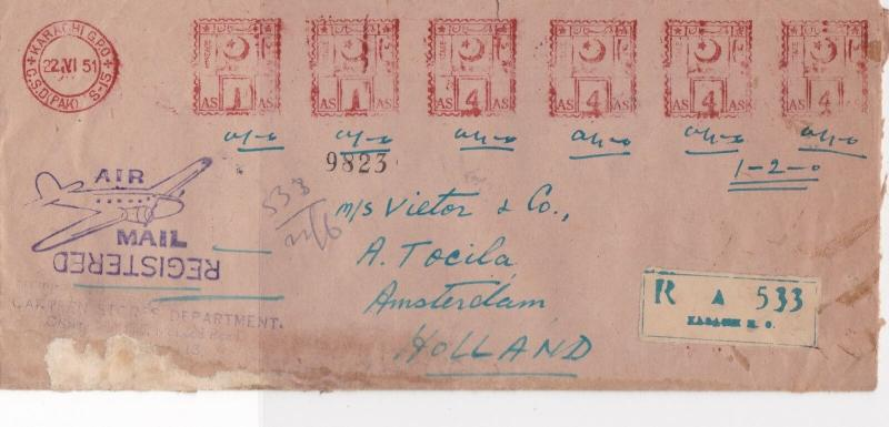 Pakistan 1951 Karachi Cancel Airmail Regd Slogan Meter Mail Stamps Cover Rf29318