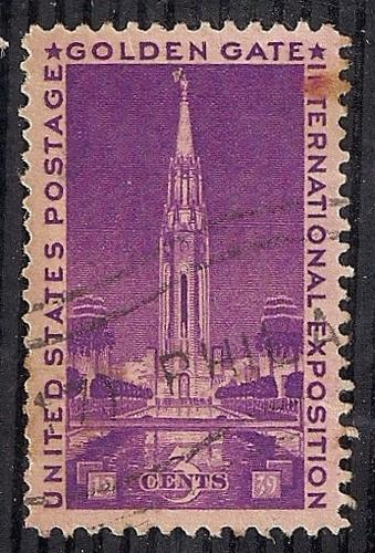 852 3 cent LOGO CANCEL Golden Gate Exposition Stamp used VF