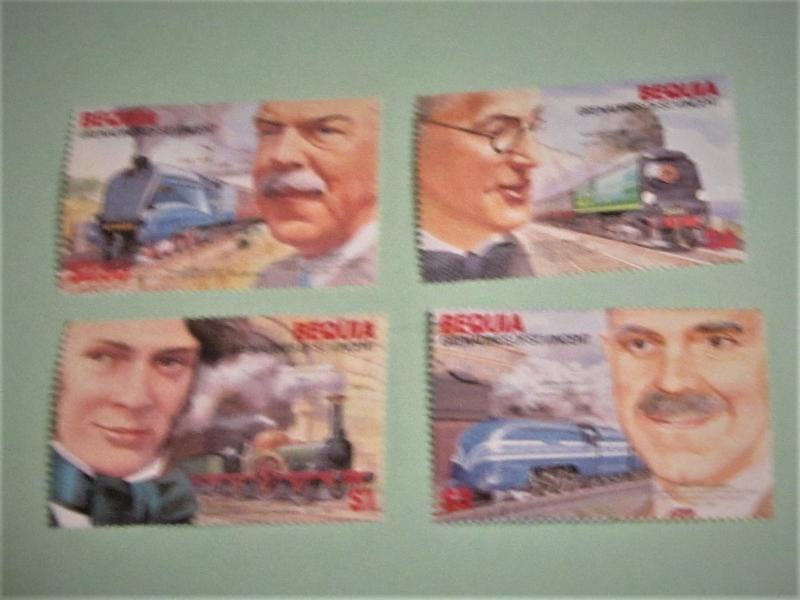 Bequia - 237-40, MNH Set. Railroad Engineers and Locomotives. SCV - $3.50