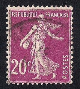 France #167 20C Sower, Red Violet Stamp used F