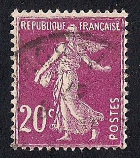 France #167 20C Sower, Red Violet Stamp used F