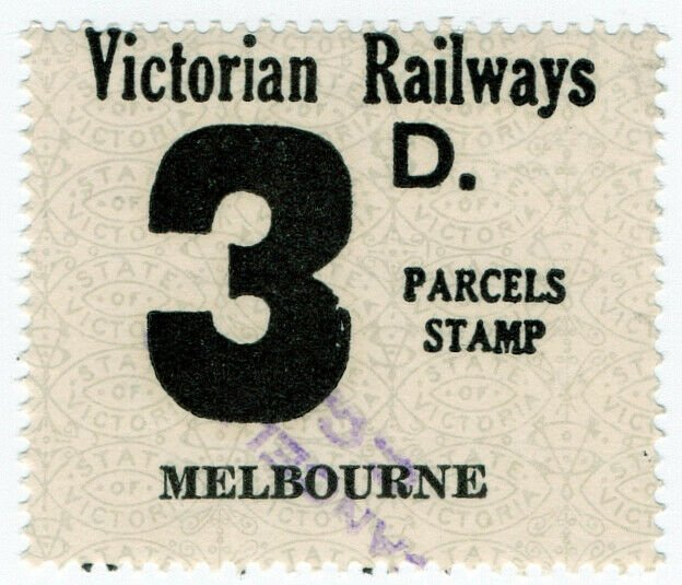 (I.B) Australia - Victoria Railways : Parcels Stamp 3d (Melbourne)
