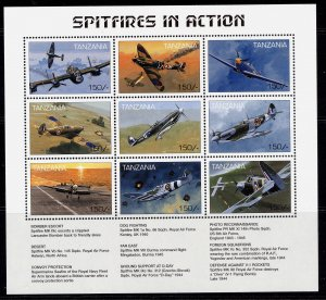 TANZANIA QEII SG MS1652, Spitfires in action mini sheet, NH MINT.