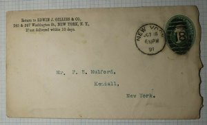 US Sc#U311 Entie Ad Cover Edwin Gillies Co Canister French Java Mocha 1891 NYC