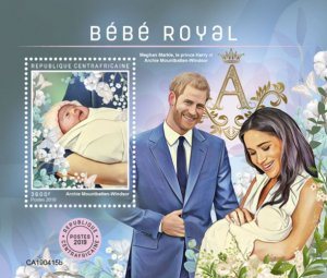 C A R - 2019 - Royal Baby, Archie Mountbatten-Windsor - Perf Souv Sheet - MNH