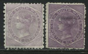 New South Wales QV 1872 6d lilac both pale and dark shades mint o.g.