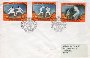 Yemen 1984 Sc#322/324 LOS ANGELES OLYMPICS Set (3) FDC