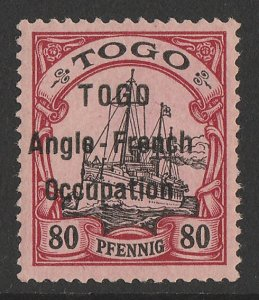 TOGO - BRITISH OCCUPATION : 1914 wide setting Yacht 80pf cat €800. Expertised.
